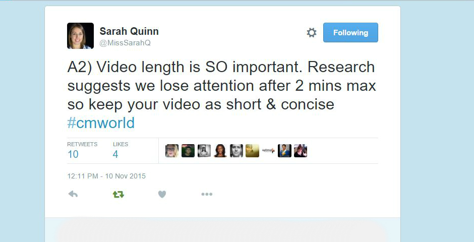 Content marketing creating video solutions a cmworld twitter sarah quinn joined our recent cmworld twitter chat to share ideas on how to create video malvernweather Gallery