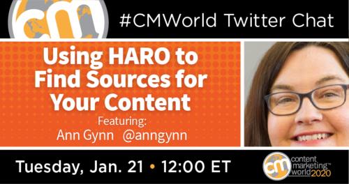 A #CMWorld Twitter Chat with Ann Gynn Content Marketing World 1